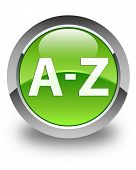 A To Z Glossy Green Round Button