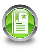 Bookmark Icon Glossy Green Round Button