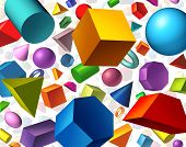 stock photo of three dimensional shape  - Geometric shapes background and geometry concept as basic three dimensional figures as a cube sphere cylinder floating on white as an education and math learning symbol - JPG