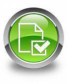 Checklist Document Icon Glossy Green Round Button