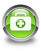First Aid Kit Icon Glossy Green Round Button
