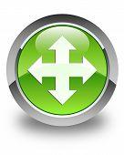 Move Icon Glossy Green Round Button