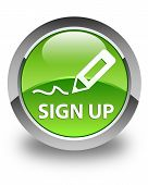Sign Up Glossy Green Round Button