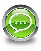 Talk Icon Glossy Green Round Button