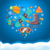 Winter Sports background with snowboard equipment flat icons. Helmet, snowboard, boots glasses