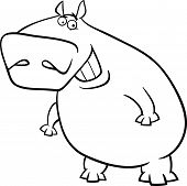 Hippopotamus Cartoon Coloring Page