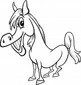Farm Horse Cartoon Coloring Page