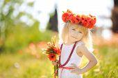 stock photo of red-necked  - Little girl  - JPG