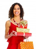 Beautiful girl with Christmas gifts isolated white background
