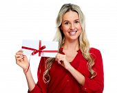 Woman with  envelope Christmas gift isolated white background.