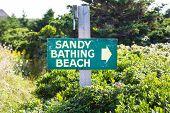 Sandy Bathing Beach Sign