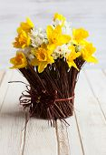 Daffodils in a twig vase on the wooden table