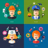 Illustration of flat design business illustrations with people professions