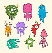 Illustration of friendly, cool, cute hand-drawn monsters collect