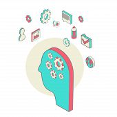 isometric style vector illustration brainstorming process concept