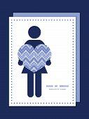 Vector purple drops chevron woman in love silhouette frame pattern invitation greeting card template