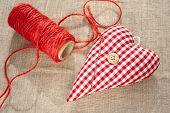 Homemade Sewed Red Cotton Love Heart. Closeup.