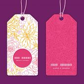 Vector flowers outlined vertical round frame pattern tags set