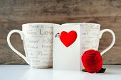Valentine Gift Box With Greeting Card And Two Cups