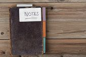 Revamped Old Weathered Brown Notebook On Wooden Planks