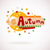 Vector colorful word AUTUMN with mug of beer and hand written text (scrapbook and graffity style).
