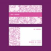 Vector pink flowers lineart horizontal stripe frame pattern business cards set
