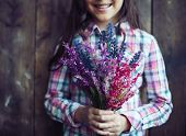 image of wildflowers  - Little girl holding bunch of wildflowers - JPG