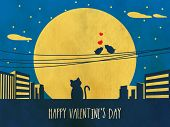 Happy Valentines Day celebration with silhouette of bird couple in love and cat on grungy urban night background.
