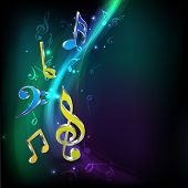 Abstract shiny musical notes on stylish background.