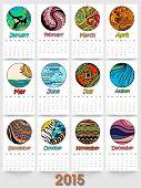Creative annual calendar for New Year 2015.