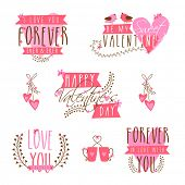 stock photo of corazon  - Beautiful typographic collection for Happy Valentines Day celebration - JPG