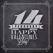 Elegant greeting card design with stylish text 14 February, Happy Valentines Day on blackboard background.