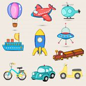 Set of nine transport toys with parachute, airplane, helicopter, ship, missile, space craft, train, bicycle, car and scooter for little kids.
