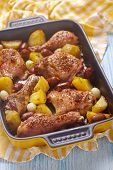 Постер, плакат: Spanish chicken casserole with chorizo
