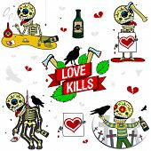 Funny Skeletons. Love Kills.
