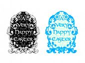 Rich decorated floral Easter egg in black in blue