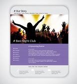 Web site template with music event banner. Vector