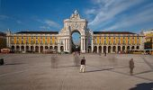 Commerce Square in downtown Lisbon (Portugal), close to the Tagus River is one of the largest squares in Europe - long expo (shadows of people passing)