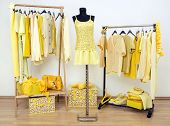 Dressing Closet With Yellow Clothes Arranged On Hangers And An Outfit On A Mannequin.