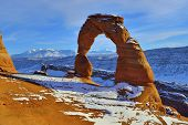 Delicate Arch At Sunset In Arches National Park, Utah In Winter