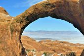 Double-o-arch In Devil's Garden In Arches National Park, Utah In Winter