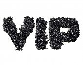 Abbreviation VIP made of black caviare