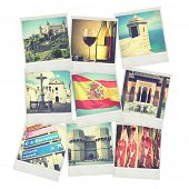Set of old instant photos of Spain