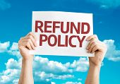 Refund Policy card with sky background
