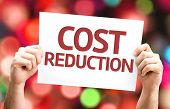 Cost Reduction card with colorful background with defocused lights