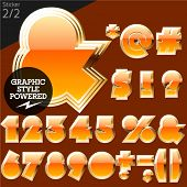 Orange alphabet with golden border. Sticker. File contains graphic styles available in Illustrator. Set 2