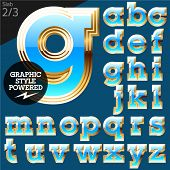 Blue alphabet with golden border. Stab. File contains graphic styles available in Illustrator. Set 3