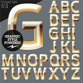 Vector alphabet of beveled golden letters. Compact light. File contains graphic styles available in Illustrator. Set 1