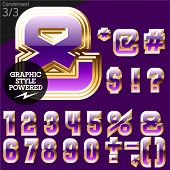 Violet font with golden border.Condensed. File contains graphic styles available in Illustrator. Set 3