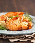 Plate Of Delicious Prawns Spaghetti With Creamy Sauce
